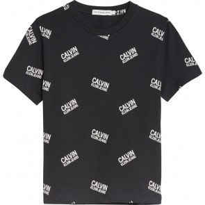 Calvin Klein Jeans t-shirt met all-over logoprint in de kleur zwart