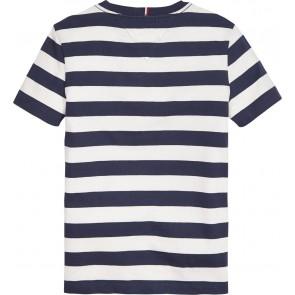 Tommy Hilfiger gestreept t-shirt met logo in de kleur donkerblauw