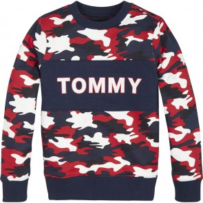 Tommy Hilfiger sweater trui met all-over legerprint in de kleur multicolor