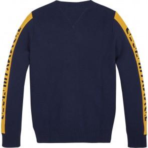 Tommy Hilfiger fijngebreide sweater trui met gele logobies in de kleur donkerblauw
