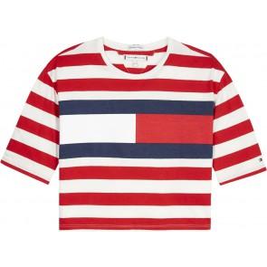 Tommy Hilfiger oversized gestreept t-shirt met logo in de kleur rood