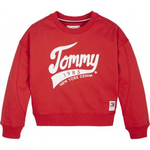 Tommy Hilfiger kids girls sweater trui logo print in de kleur rood