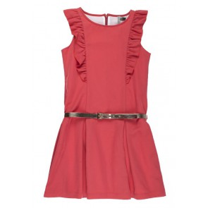 Rumbl Royal jurk met roezels en riempje in de kleur koraal rood
