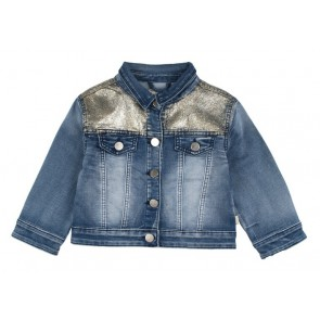 Rumbl Royal kort jeansjasje met gouden glitters in de kleur jeansblauw