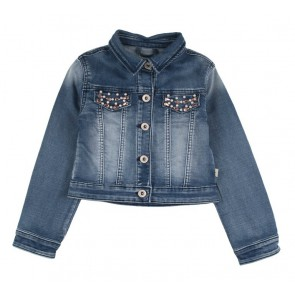 Rumbl Royal kort jeansjasje met steentjes in de kleur jeansblauw