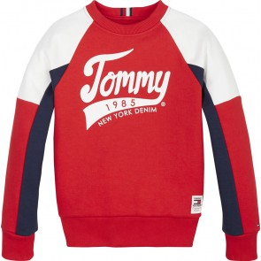 Tommy Hilfiger kids boys raglan sweater trui tommy sweatshirt in de kleur rood