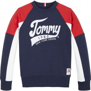 Tommy Hilfiger kids boys raglan sweater trui tommy sweatshirt in de kleur donkerblauw