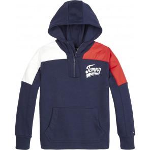 Tommy Hilfiger kids boys sweater trui met capuchon in de kleur donkerblauw/rood