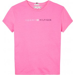 Tommy Hilfiger kids girls t-shirt essential tommy roll-up tee in de kleur fluor roze