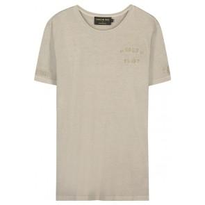 In gold we trust t-shirt met logo print in de kleur grijs/beige