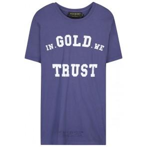 In gold we trust ripped t-shirt met gaatjes en logo print in de kleur blauw/paars