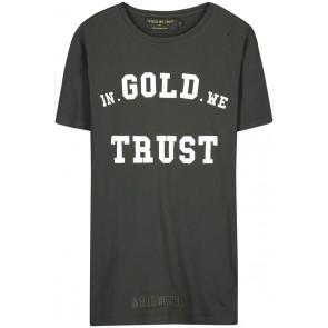 In gold we trust ripped t-shirt met gaatjes en logo print in de kleur donkergroen