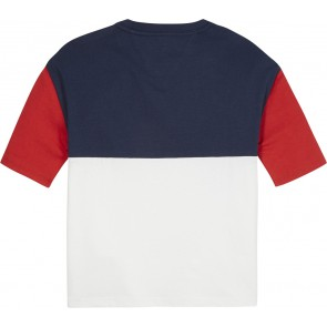 Tommy Hilfiger kids girls oversized t-shirt colorblock tee in de kleur rood/blauw