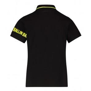 Ballin Amsterdam kids boys polo shirt met fluor gele accenten in de kleur zwart