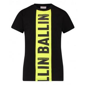 Ballin Amsterdam t-shirt met logo print streep in de kleur zwart/fluor geel