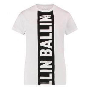 Ballin Amsterdam t-shirt met logo print streep in de kleur wit