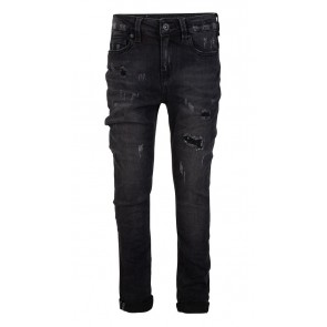 Indian blue jeans black Jay tapered fit 2762 met scheuren in de kleur black denim