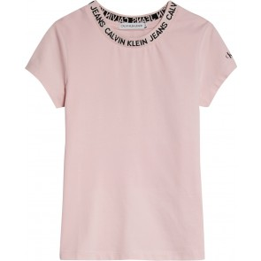 Calvin Klein kids girls logo intarsia t-shirt in de kleur zachtroze