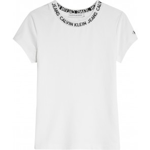 Calvin Klein kids girls logo intarsia t-shirt in de kleur wit