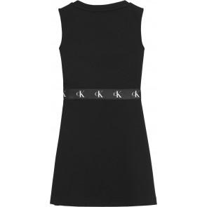 Calvin Klein kids girls jurk met logo bies monogram punto in de kleur zwart