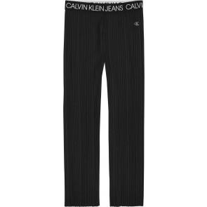 Calvin Klein kids girls broek logo waistband plisee met wijde pijpen in de kleur zwart