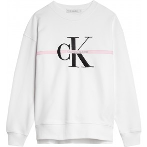 Calvin Klein kids girls sweater trui met monogram stripe in de kleur off white