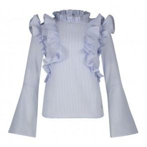 AI&KO Delhi stripe blouse met ruches in de kleur bleached blue lichtblauw