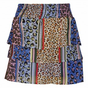 Retour jeans rok Sylvana met laagjes en all over print in de kleur multicolor