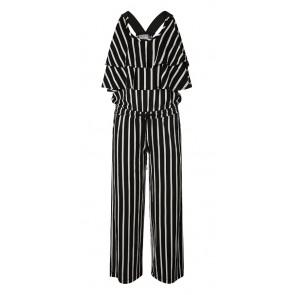 Retour jeans jumpsuit Maria met strepen in de kleur zwart/wit