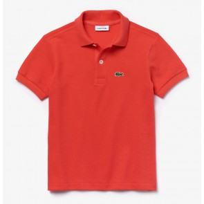 Lacoste kids boys piqué polo shirt in de kleur tomato red rood