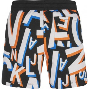 Calvin Klein kids boys letter all over print sweatshort in de kleur zwart