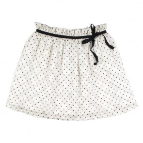 Rumbl Royal girls rok met stipjes en zwarte bies in de kleur off white