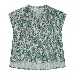 Circle of trust kids girls Roos blouse met all over leafs print in de kleur off white/groen
