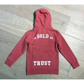 In gold we trust kids washed hoodie sweater trui in de kleur rood