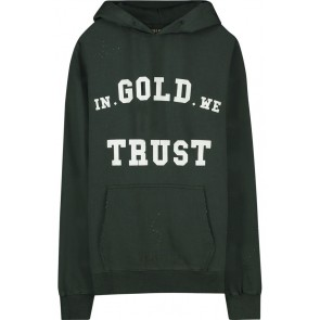 In gold we trust kids destroyed washed hoodie sweater trui in de kleur donkergroen