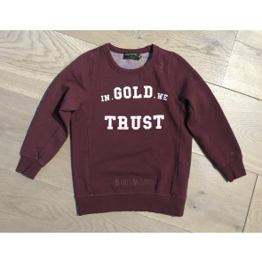 In gold we trust kids destroyed washed sweater trui in de kleur bordeaux rood