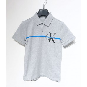 Calvin Klein jeans monogram stripe polo t-shirt in de kleur grijs