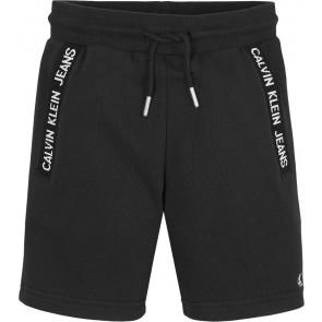 Calvin Klein jeans intarsia sweatshort broek met logo print in de kleur zwart