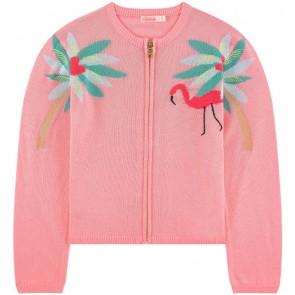 Billieblush kids girls fijngebreid vestje met flamingo in de kleur roze