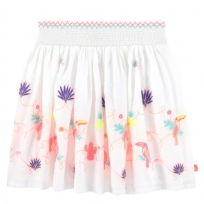 Billieblush kids girls rok met borduursels en toekan in de kleur off white