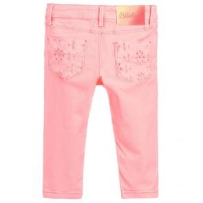Billieblush kids girls broek met broderie kontzakken in de kleur koraal oranje