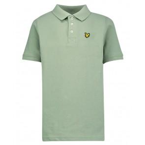 Lyle and Scott junior boys polo shirt met klein logo in de kleur hedge green groen