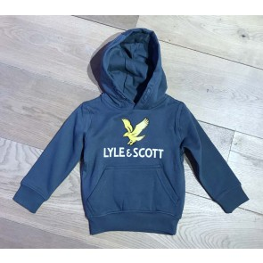 Lyle and Scott junior boys hoodie sweater trui met vogel logo in de kleur orion blue petrol blauw