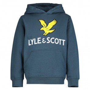 Lyle and Scott junior boys hoodie sweater trui met vogel logo in de kleur orion blue petrol blauw