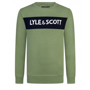 Lyle and Scott junior boys sweater trui met letter print in de kleur hedge green groen