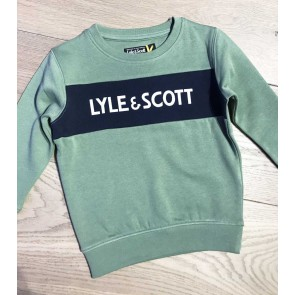 Lyle and Scott junior boys sweater trui met letter print in de kleur hedge green groen
