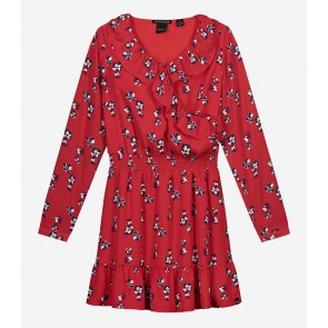 Nik en Nik girls jurk flowery dress in de kleur poppy red rood