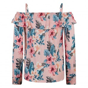 Retour jeans girls Carmine off shoulder top met floral print in de kleur zachtroze