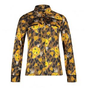 AI&KO Finou leopard heart blouse met poezen print in de kleur multicolor
