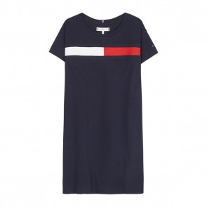 Tommy Hilfiger kids girls jurk flag jersey dress in de kleur donkerblauw